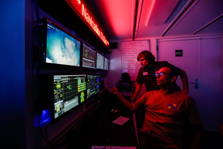 Manning the ROV SuBastian Navigation Station in the control room on R/V Falkor.