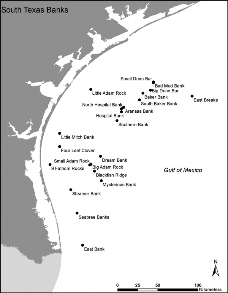 A map showing the shelf-banks off of the southern coast of Texas.