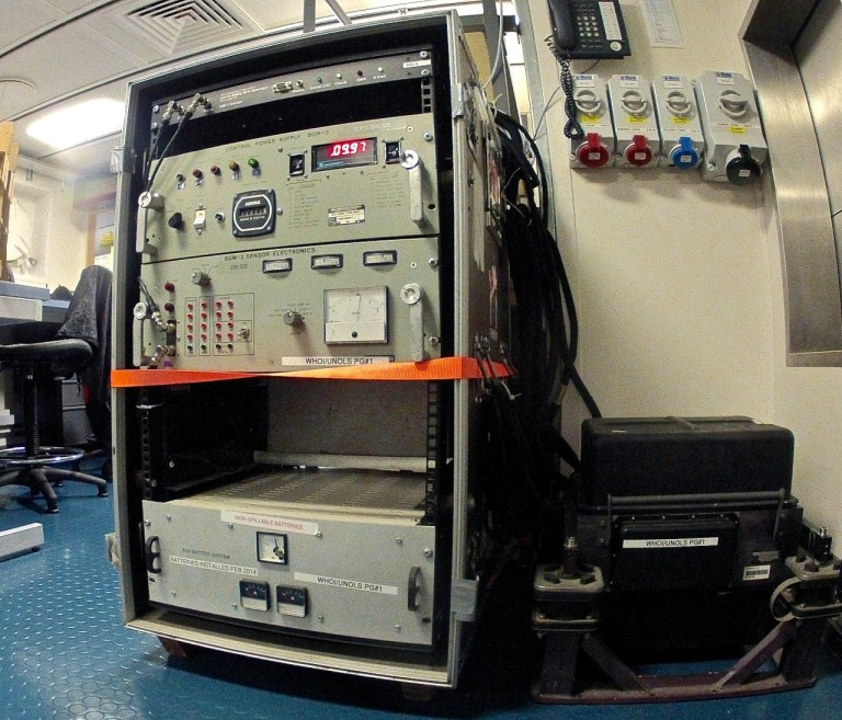 The gravimeter, installed in the main lab, will be a key tool for the cruise's first leg.
