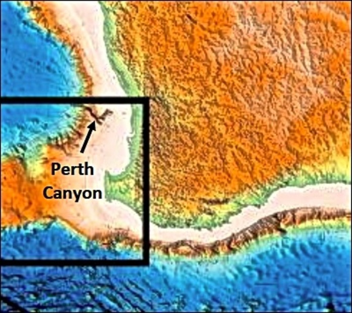 A map showning the location of Perth Canyon relative to southwest Australia.