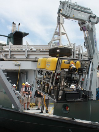 Remotely Operated Vehicle Global Explorer MK3 is tested in the dock at St. Petersburg Florida.