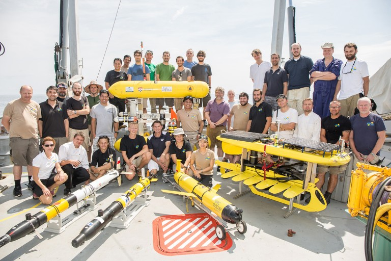 Coordinated Robotics research team and R/V Falkor crew display an array of robotic systems that were deployed and operated as part of this project in the Timor Sea in early April of 2015.