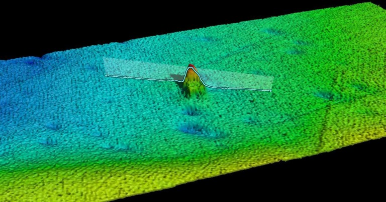 Computer visualization of the S.S. Terra Nova wreck rereproduced from the acoustic data acquired by the R/V Falkor Kongsberg EM710 multibeam echo sounder.