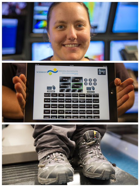Colleen, Lead Marine Technician, is all about control, as she has mastery over all the inputs to the video matrix on her tablet app, keeping everyone connected to the science. Rumours are that she can control the CTD remotely from the sauna.