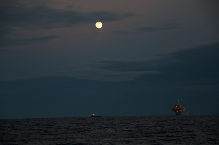 Moonrise view from R/V Falkor.