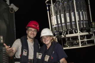Marine Technician Veit Huehnerbach and Deckhand Sandra Faryna after deploying the CTD rosette.