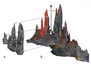 A comparison of preliminary 3D terrain models based on Faulty Towers archive footage reveals the large differences (red) between (a) a partial façade imaged in black+white in 1997 and (b) a color test scan done with ONC in 2014. Both 3D models have about 3 cm resolution. Image