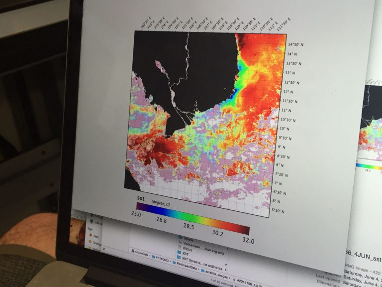 Satellite Data of sea surface temperature used by Joseph Montoya and his science team to locate the Mekong River plume in the South China Sea.