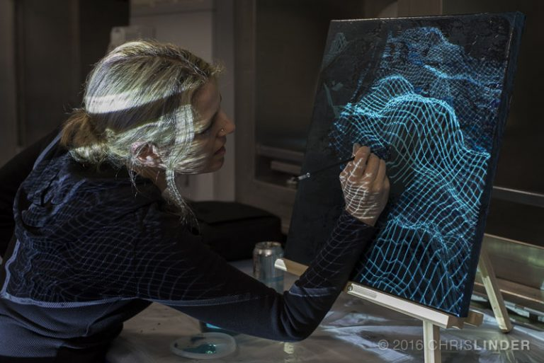 Rutstein superimposing sonar data into her paintings.