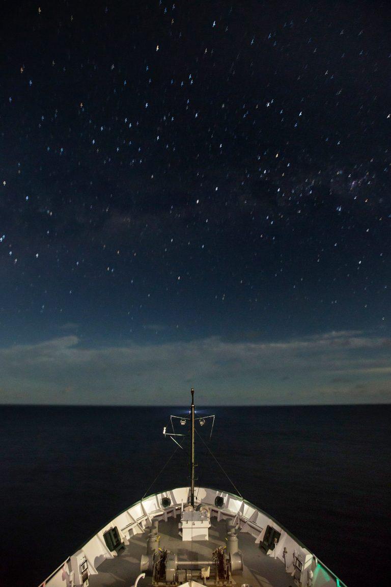Stars over R/V Falkor.