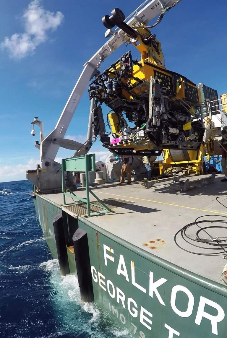 The remotely operated vehicles ROPOS launching from the research vessel Falkor during one of the calmer days at sea.