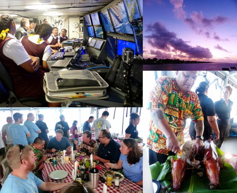 While harbored in the country of Tonga the science team and crew hosted ship tours for local students and professionals after which they said farewell to the beautiful country, new friends and colleagues over a traditional Tongan dinner on board the R/V Falkor.