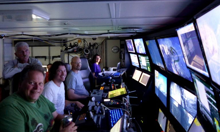 Operating the cameras in the control room on R/V Falkor.
