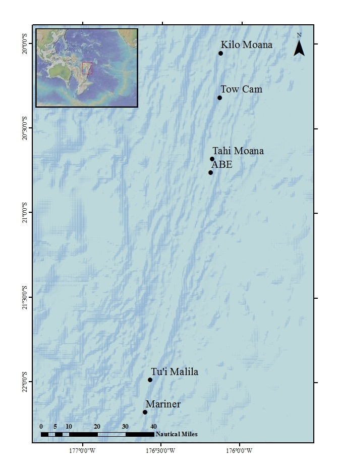 The location of the six hydrothermal vent study sites in the Lau basin back-arc.