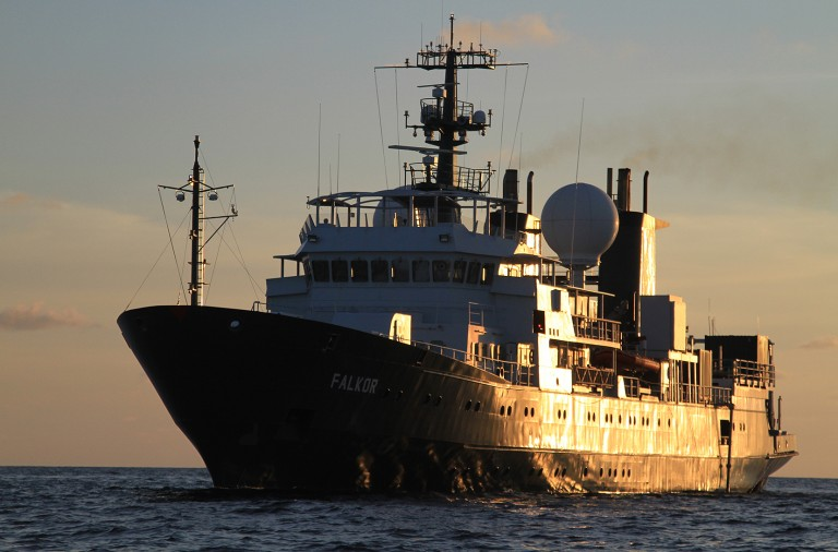 The research vessel Falkor, home to a wide range of people and jobs that, functioning together, facilitate the Vent Life science expedition to the deeps of the ocean.