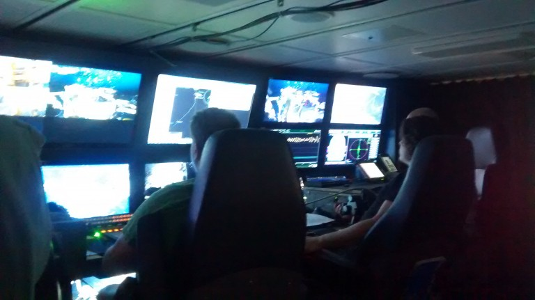 ROPOS group at work in the ROV control room.