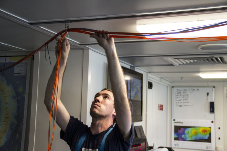 Running fiber optics and data cables all the way from the dry lab up to the observation deck was a lengthy process.