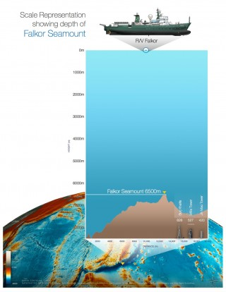 Depth comparison of the newly documented Falkor Seamount. Note size comparisons to buildings.
