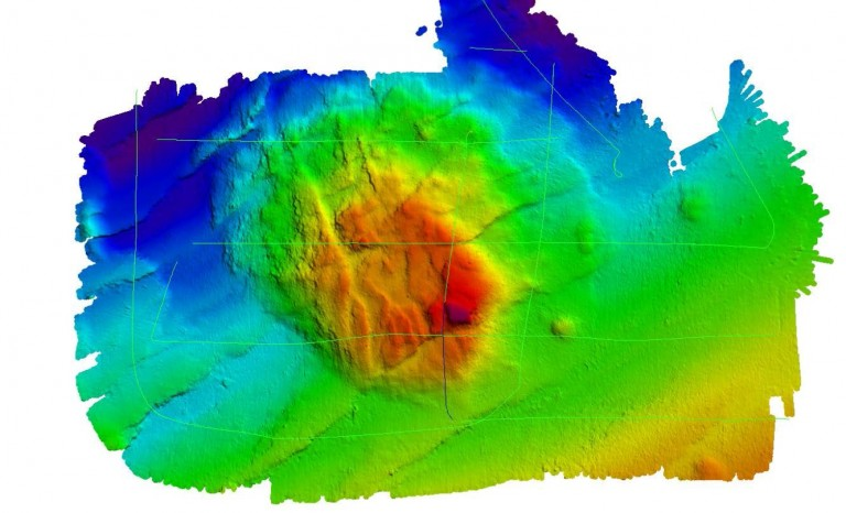 High resolution multibeam map of the newly named Falkor Seamount.