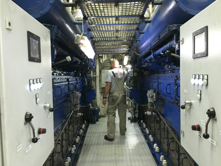Engineer regularly patrol Falkor's engine room, making sure everything is functioning and running smoothly.