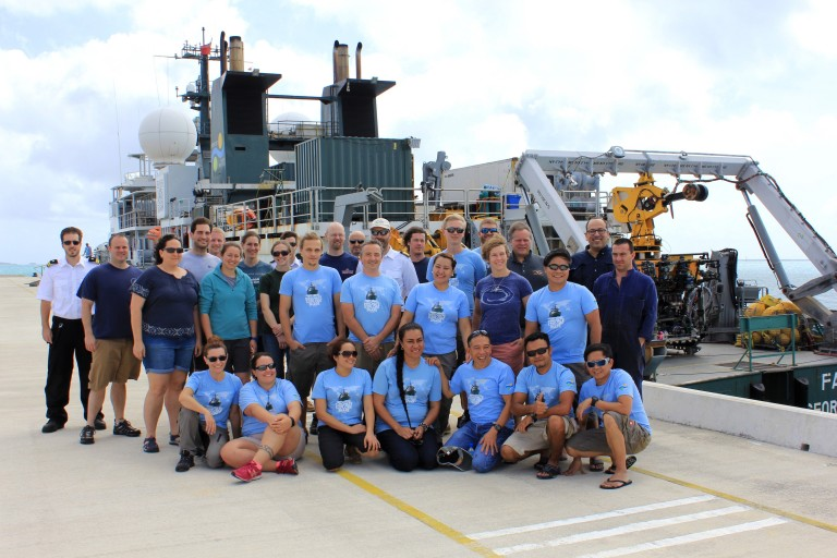 The science team and crew of the remotely operated vehicle ROPOS and research vessel Falkor in Tonga after a successful first half of the Vent Life expedition.