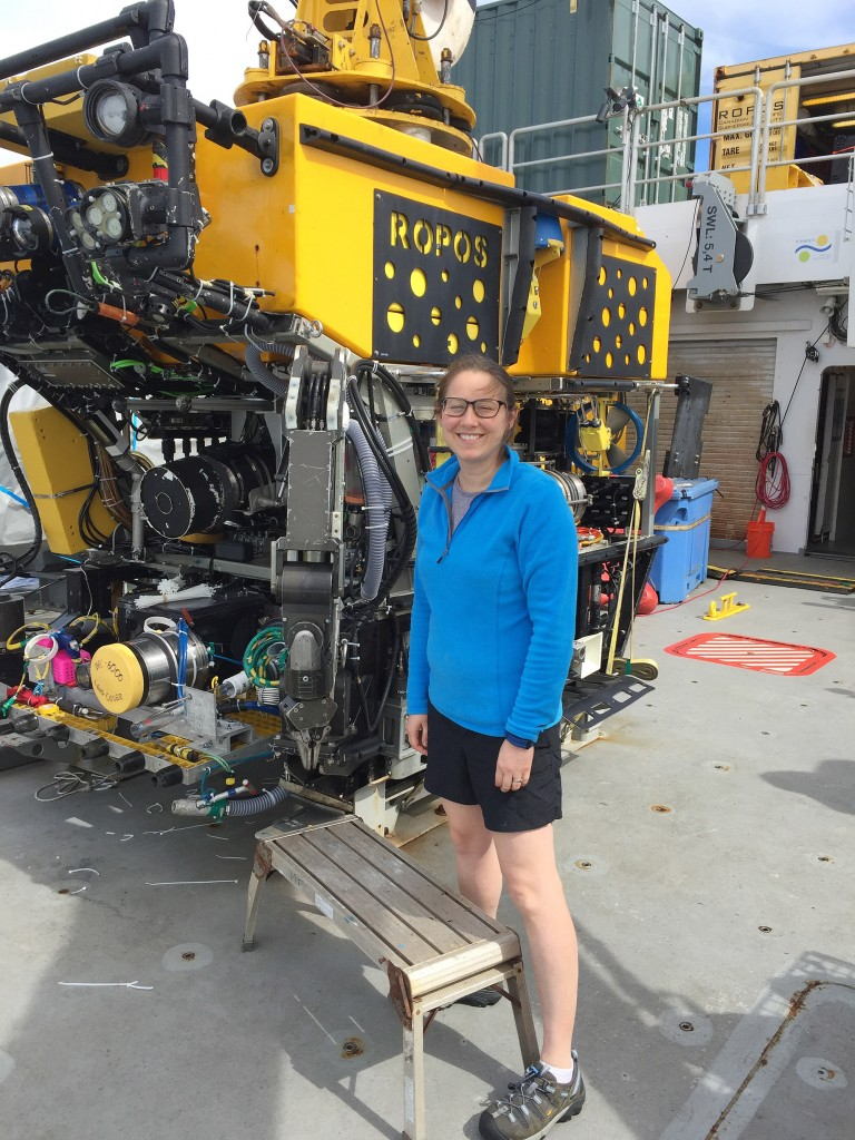 Blog author Dr Roxanne Beinart with the remotely operated vehicle ROPOS.
