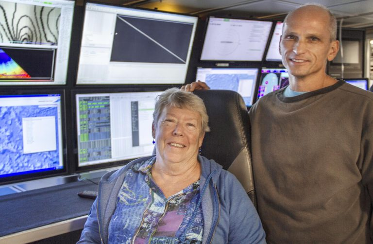 Drs. Joyce Miller and John Smith have been mapping the Pacific for 40 years. Taking advantage of the opportunity to obtain high resolution bathymetry during Falkor's transit from Guam to Hawaii, they will map the recently expanded protected area of the Johnston Atoll Unit