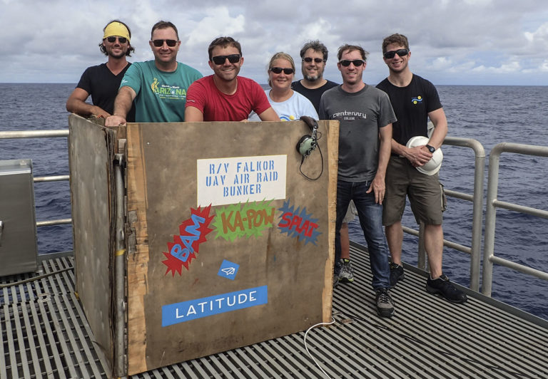 Scott Bowers, Josef McDaniel, Justin Armer, Deborah Smith, Chris Zappa, Scott Brown and Taigh MacManus are happy to participate in the successful take off of an HQ-60B UAV loaded with hemispheric radiometers for the first time ever. The UAV flew for three hours measuring long and short wave radiation in the ocean and the atmosphere.