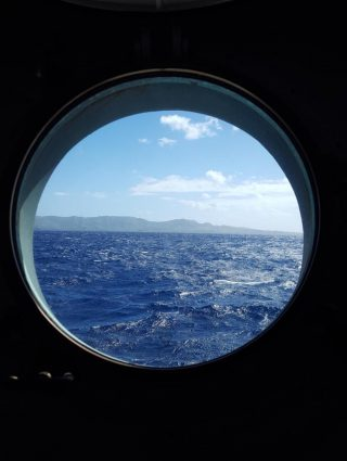 An image from Andrew's cabin porthole, as Falkor departed from Guam on her way to Hawaii.