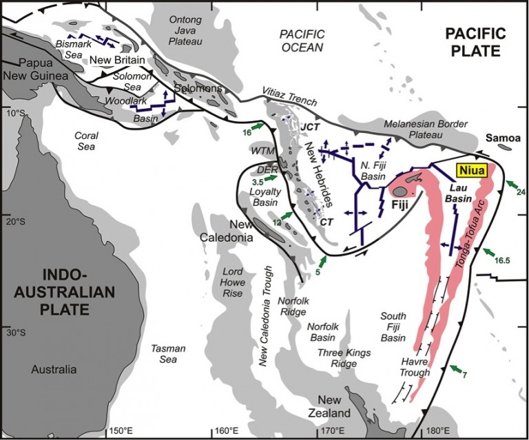 """Map of the tectonic elements of the western Pacific margin between the Pacific Plate in the east and the Indo-Austrlaian Plate in the west. The complex microplate mosaic is a product of collision with the Ontong Java and Melanesian Border Plateaus in the Miocene, which caused a reorientation of many of the subduction zones. Green arrows show the direction and rate of subduction in cm/yr. Blue arrows indicate back-arc extension. The Niua Volcanic Complex is located at the """"knife edge"""" of the Indo-Australian Plate and Vitiaz Fracture Zone where it cuts the advancing Pacific Plate. Modified after Ruellan and Lagabirelle (2005)."""