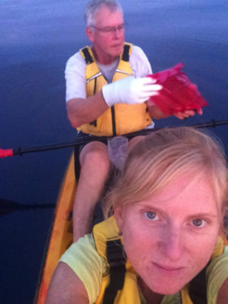 Pre-dawn sampling from the kayak (now named Morla) with Bill. As we are interested in measuring extremely low concentrations of metals in the microlayer and underlying water, we have to do this away from the steel-hulled Falkor. We also need to wear gloves so that we do not contaminate our samples.