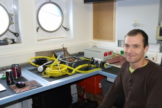Daniel with the cameras we'll be using on Nereus for Leg 2, donated to WHOI by James Cameron along with the DEEPSEA CHALLENGER which will be visiting Washington DC today.