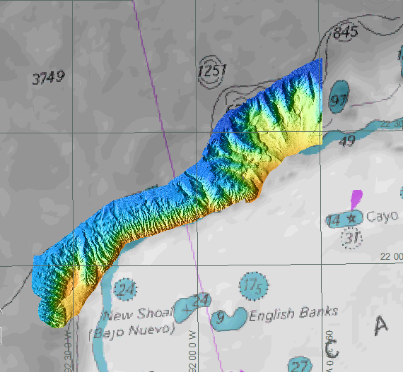 Newly acquired multibeam data shown overlain over the original chart of the Campeche Escarpment. The depths of the multibeam data range from 400 to 3700 meters, with the blue being the deepest area.