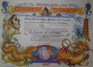 The Domain of the Golden Dragon certificate.