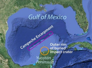 This map shows the Campeche Escarpment and the buried impact crater from an event that caused a global extinction event about 65 million years ago.