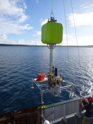 The FVCR is deployed for a shallow water test in Apra Harbor in Guam.