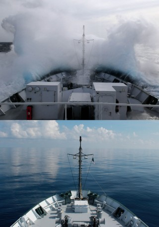 In the 12 day expedition, the R/V Falkor experienced dramatic changes in weather as a result of Tropical Storm Isaac (later Hurricane Isaac).