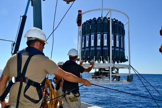 Data from sensors lowered on Falkor's CTD rosette will go to the Marine Geophysical Data System.