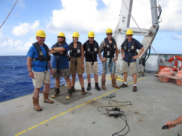The deployment/recovery team after a successful launch of the wee trap into the Sirena Deep. From left to right: Stuart Piertney, Clif Nunnally, Mackenzie Gerringer, Alan Jamieson, Thom Linley, and Jeff Drazen.