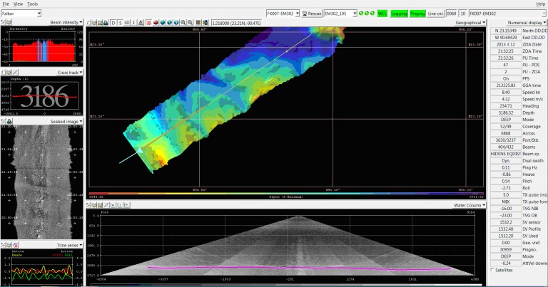 This screenshot image of R/V Falkor EM302 multibeam echo sounder data processing software shows canyons and ridges extending from the Campeche Escarpment.  This is the first mapping pass of R/V Falkor along the base of the Escarpment, and this data will determine where the ship will operate as it traverses the Escarpment in the opposite direction.
