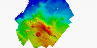 High resolution multibeam map of the newly named Engineer's Ridge.