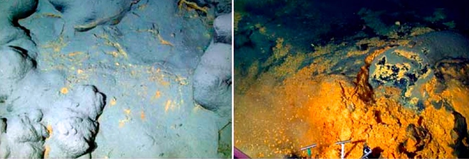 Left: The telltale signs of orange flocculent material at the base of the Loihi Seamount. Right: The ponded bacterial material revealed after the surface layer removed.