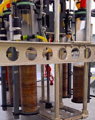 Four layered sediment cores from the Free Vehicle Coring Respirometer (FVCR).