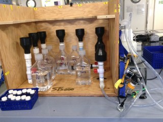 The filtering rig has been kept busy filtering lots of water samples.