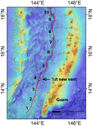 "Map of the southern Mariana Back-Arc showing the 10 segments we are focusing on for our hydrothermal hunt, and the site of our first hydrothermal ""hit."""