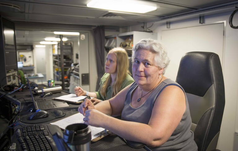 Sharon Walker and Melissa Anderson in the Science Control room on R/V Falkor.