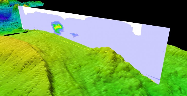 Three-dimensional view showing the hydrothermal plume discovered at Segment 8 during the last CTD tow-yo (vertical plane) superimposed on seafloor bathymetry.