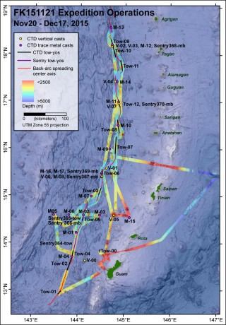 Map showing all the CTD casts and tows, and AUV Sentry dives we were able to accomplish during our 4-week expedition.