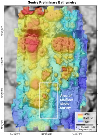 Preliminary AUV Sentry multibeam data in the area of low-temperature venting discovered during CTD tow 6. Sentry seafloor bathymetry data resolution is 1 meter. The white box shows the area of the Sentry photo survey that captured the new lava flows.