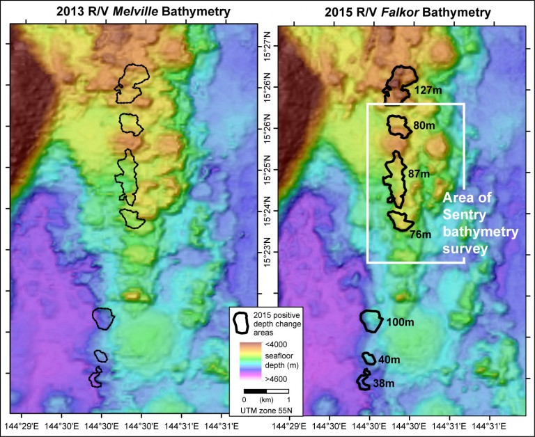 Maps showing the 2 ship multibeam bathymetry surveys in the area of the newly-discovered lava flows. The data on the left were collected in 2013, the data on the right in 2015. The black polygons are the new lava flows. Numbers on the 2015 map specify the maximum thickness of each lava flow in meters. The white box shows the area of the Sentry bathymetry survey.